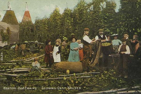 Oast House and Hop Pickers