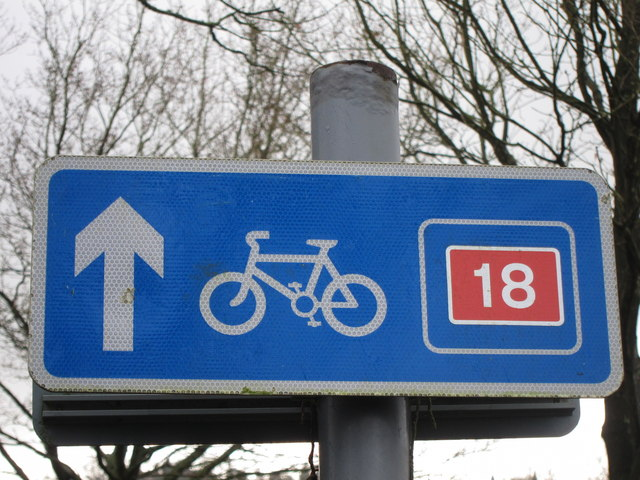 National Cycle Route 18 sign